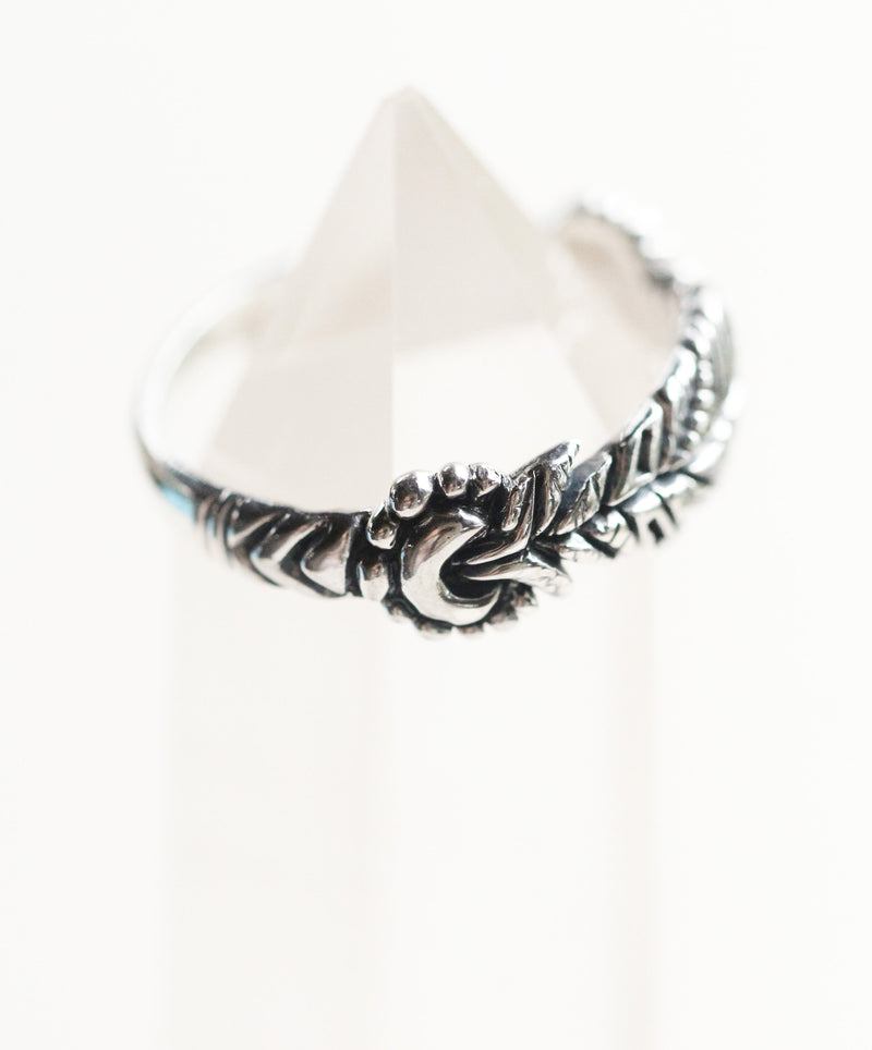 Feather Ring, Tribal, Aztec Pattern, Crescent Moon, Boho, Gypsy, Mystical, Alchemy, Stylish, Silver, 925 Sterling, Sterling Jewelry