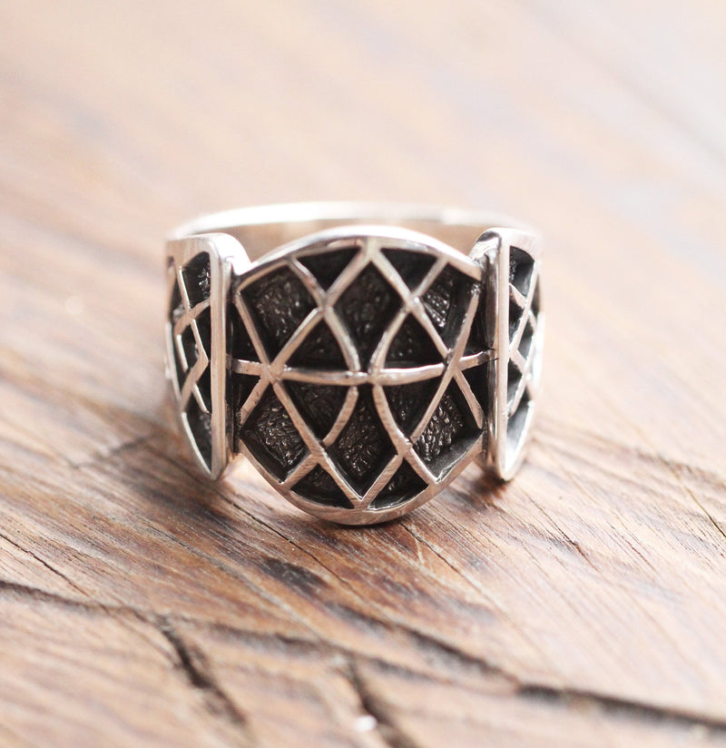 Geometric Style Ring for Men with Patterned Band in 925 Sterling Silver