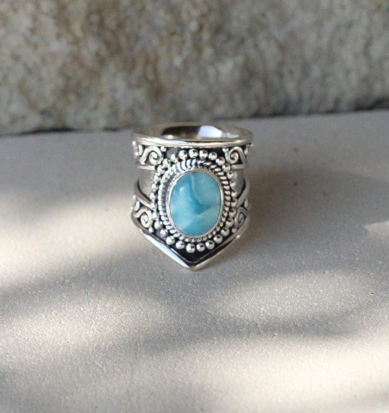 Larimar Ring, Boho Ring, Statement Ring, Gypsy Ring, Wide Band Ring, Sterling Ring, Stylish Ring, Bohemian Ring, Large Larimar Ring, Chevron