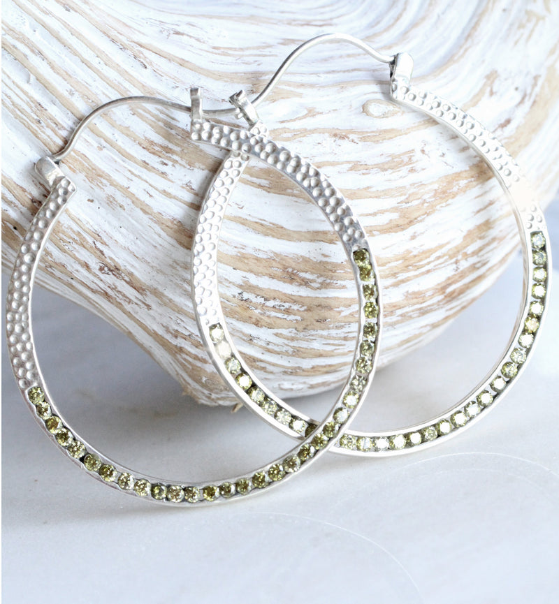Boho Jewelry, Gemstone Hoops, Large hoops, Sterling Silver, Nickel Free Earrings, Statement Earrings, High Fashion,