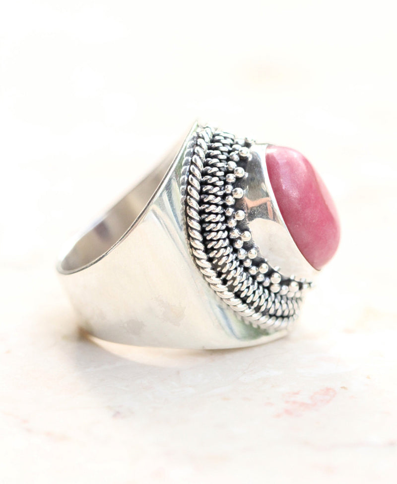 Boho Ring, Rhodonite Jewelry, Sterling Silver, 925 Stamped, Handmade, Wide Band, Engraving, Stylish, Large Oval Gemstone, Minimalist, Pretty