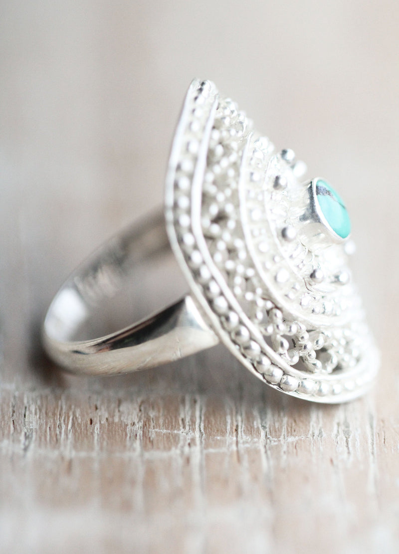 Boho Ring, Silver Mandala Ring, Genuine Turquoise, Brushed Silver, Knuckle Ring, Statement Jewelry, Filigree Jewellery, Handmade