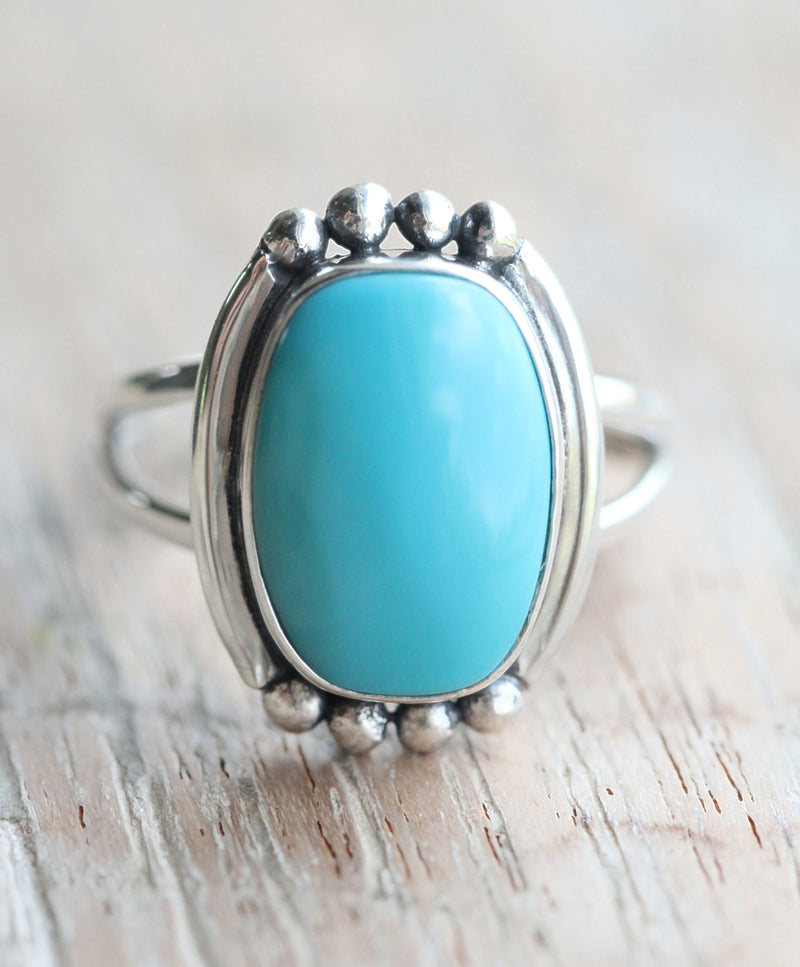 Rectangle Turquoise Ring, Boho Jewelry, Stylish Rings for Women, Handmade, 925 Sterling Silver, Stamped, Statement, Blue, Split Shank