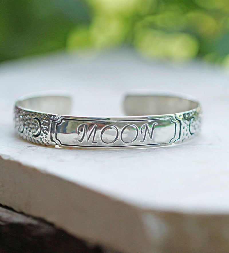 Bold Typography, Custom Jewelry, Name Bracelet, Stamped Jewelry, Sterling Silver, Cuff, Crescent Moon, Personalised, Handmade, Initials