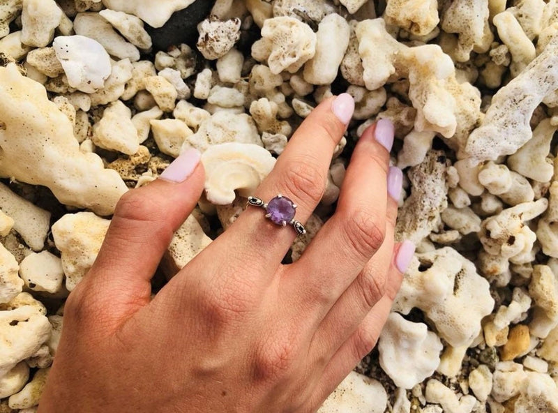 Large Amethyst Engagement Ring, 925 Sterling Silver, Amethyst Ring, Engagement Ring, Sterling Silver Ring, Promise Ring, Gemstone Ring