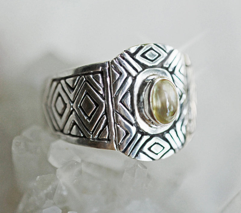 Carved Aztec Ring, Citrine Rings, Sterling Ring, Statement Ring, Carved Ring, Geometric Ring, Citrine Jewelry, Gypsy Ring, Trendy Rings