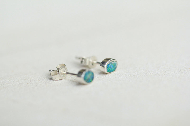Genuine Blue Opal Stud Earrings, Oval Gemstone, Natural Australian, Nickel Free, Stamped 925, Solid Sterling Silver, Simple, Push Back, OOAK