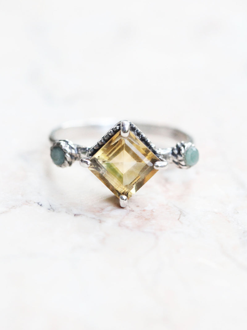 Citrine Boho Ring in Solid 925 Sterling Silver - Square Slim Band - Handmade Emerald Jewelry - Dainty Yellow and Green Gemstone