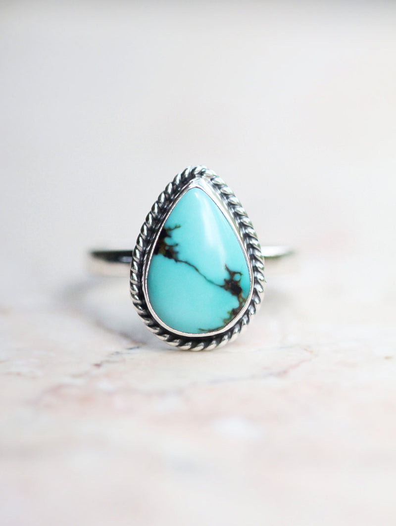 Boho Turquoise Ring, 925 Sterling, Silver, Stamped, Blue Gemstone, Teardrop, Bohemian, Boho Chic, Cute, Nickel Free, Stylish, Unique, OOAK