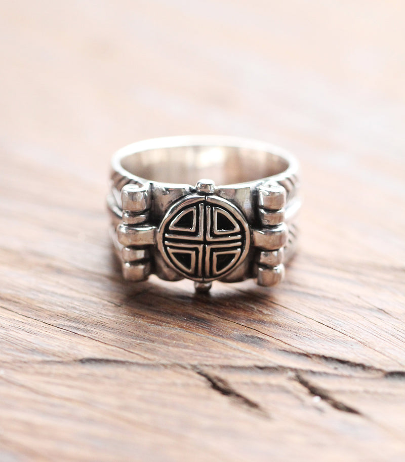 Vault Mens Ring in Solid 925 Sterling Silver, Handmade Carved Mens Jewelry