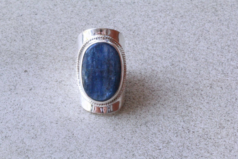 Large Kyanite Ring Blue Gemstone Boho Simple Jewelry 925 Silver Jewellery Stylish Rings Knuckle Fashion  Simple Statement Handmade