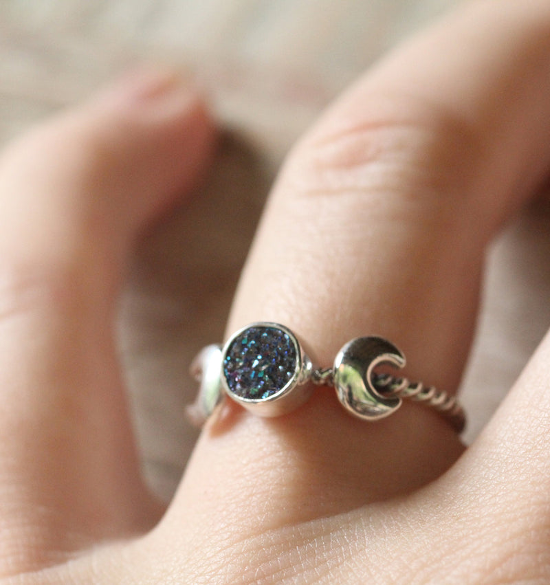 Crescent Moon Celestial Ring Druse Gemstone Goddess Symbol Rings Slim Band Twist Boho Simple Ring for Women in 925 Sterling Silver