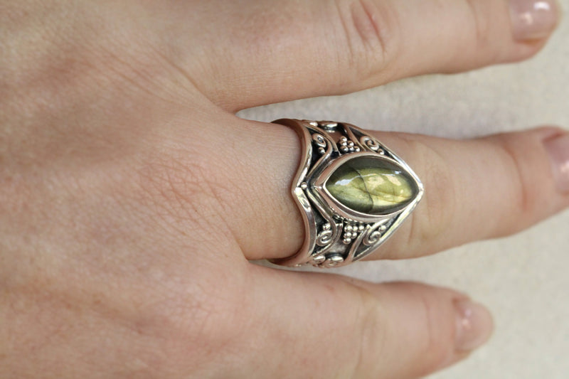 Large Marquise Ring, Boho, 925 Sterling Silver, Labradorite High Fashion Handmade Ring, Wide Band Gypsy Jewelry