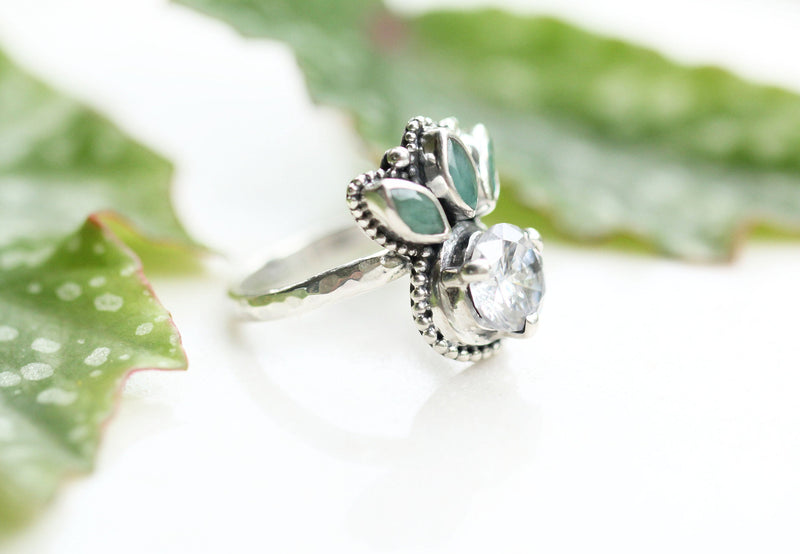 Crown Ring, Emerald Jewelry, Solid 925 Sterling Silver, Antique Style, Nickel Free, Engagement, Stylish Boho Jewellery for Women, Simple