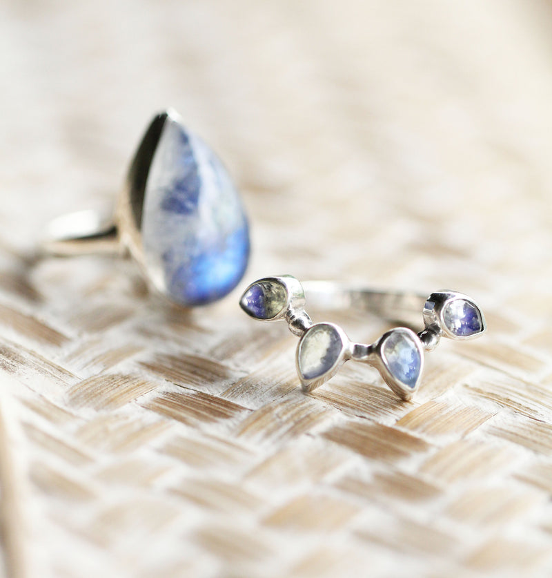 Divinity Ring in Rainbow Moonstone Crown and Solid 925 Sterling Silver, Teardrop Shaped Boho Ring for Women, Handmade and Nickel Free Stack