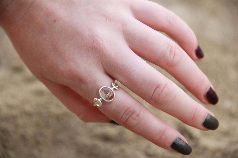 Crescent Moon, Goddess Ring, Solid 925 Sterling Silver, Crystal Jewelry, Handmade, Gold Flashes