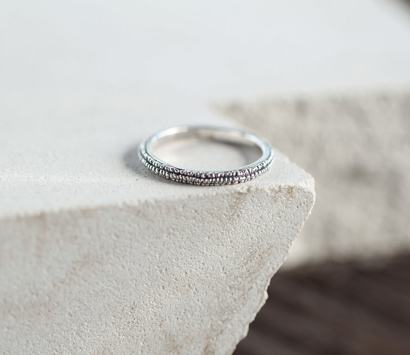 Rough Simple Ring, Rustic Slim Band, 925 Sterling Silver, Handmade Jewelry
