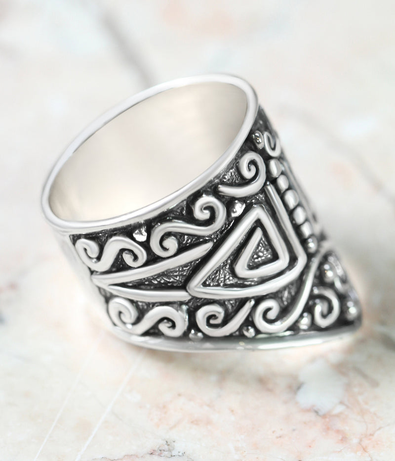 Geometric Ring Aztec Tribal Boho Ring in Solid 925 Sterling Silver Wide Band Patterned Handmade Jewelry Engraving Antiqued Silver Jewellery