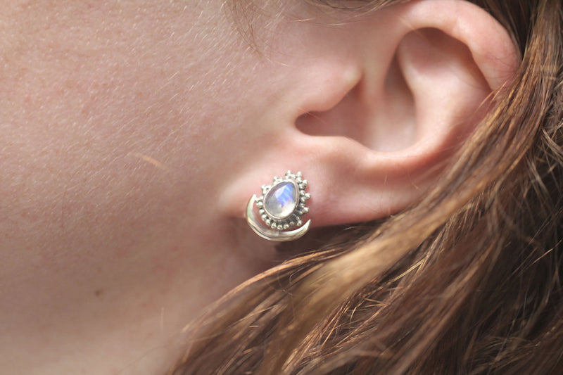 Moonstone Adjustable Earring Studs, Ear Jackets in Solid 925 Sterling Silver, Hypoallergenic and Nickel Free, Handmade, Adjustable Length