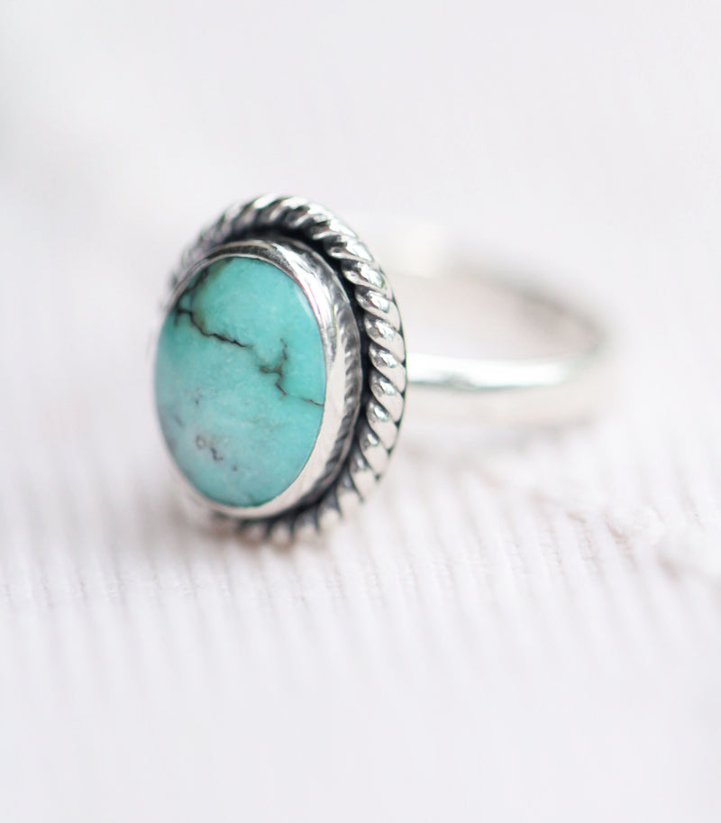 Genuine Turquoise Oval Boho Simple Ring in Solid 925 Sterling Silver Gypsy Light Blue Stacking Ring Dainty Midi Stack Ring Turquoise Round