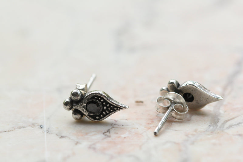 Earring Studs Simple 925 Sterling Silver Black Gemstone Zirconia Vintage Boho Gypsy earrings studs sterling silver handmade Don Biu Hipster