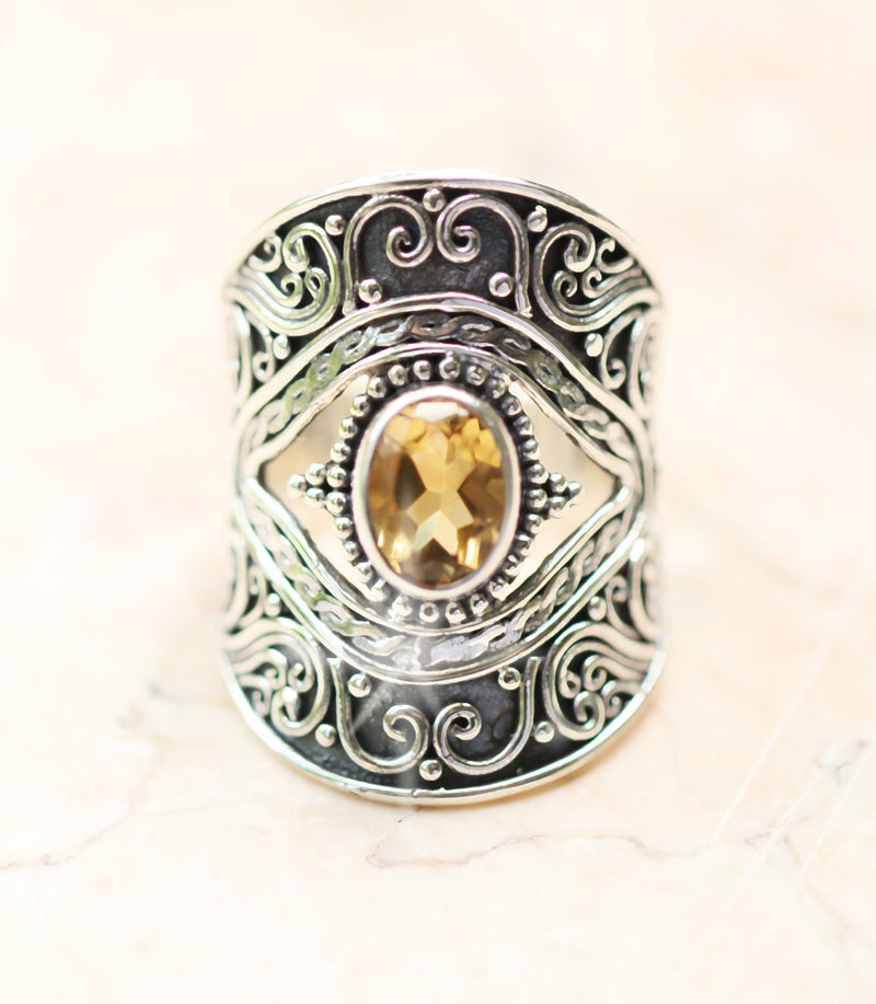 Boho Eye Ring Citrine Oval Gemstone