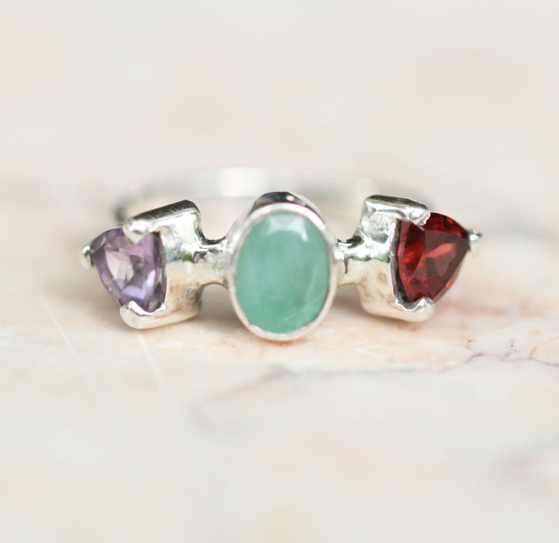 Genuine Emerald Ring, 925 Sterling Silver Ring, Slim Band Silver Ring, Garnet Engagement Ring, Amethyst Silver Ring, Boho Ring For Women
