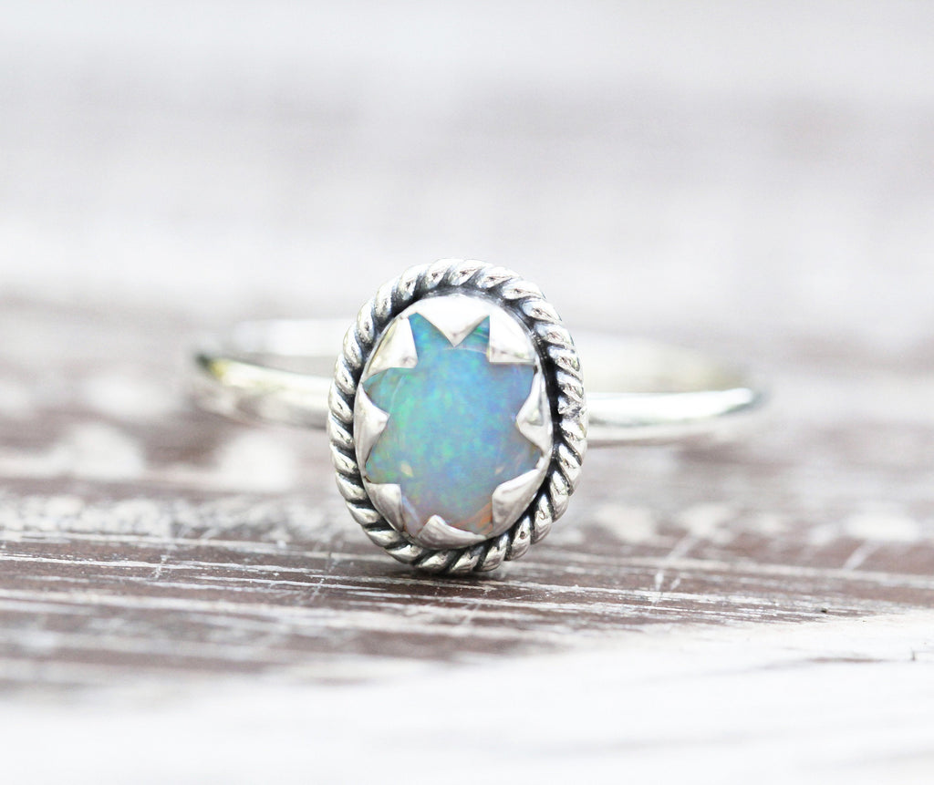 Natural White Opal Small Star Ring with Genuine Gemstone in 925 Sterling Silver Simple Dainty Stack