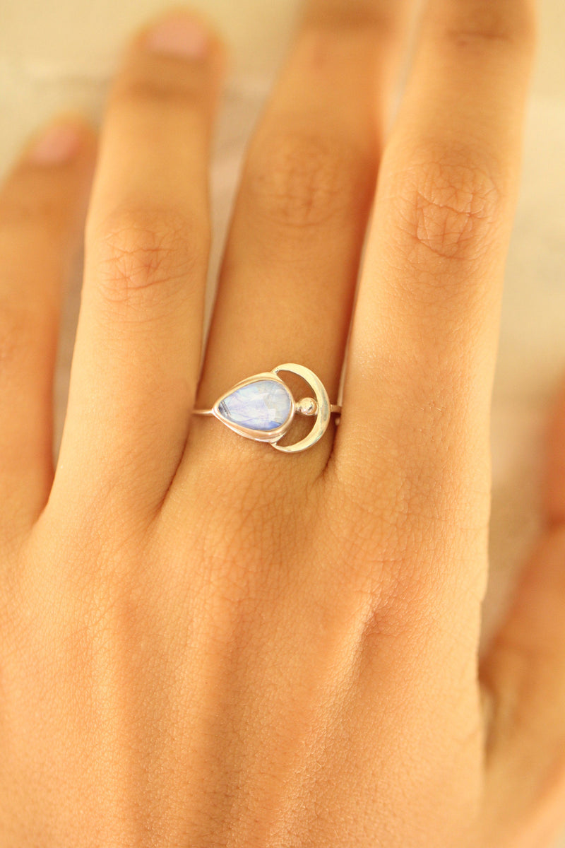 Rainbow Moonstone Boho Crescent Moon Teardrop Ring in 925 Sterling Silver a Slight Dainty Moon Ring with Slim Band Handmade Bohemian Gypsy