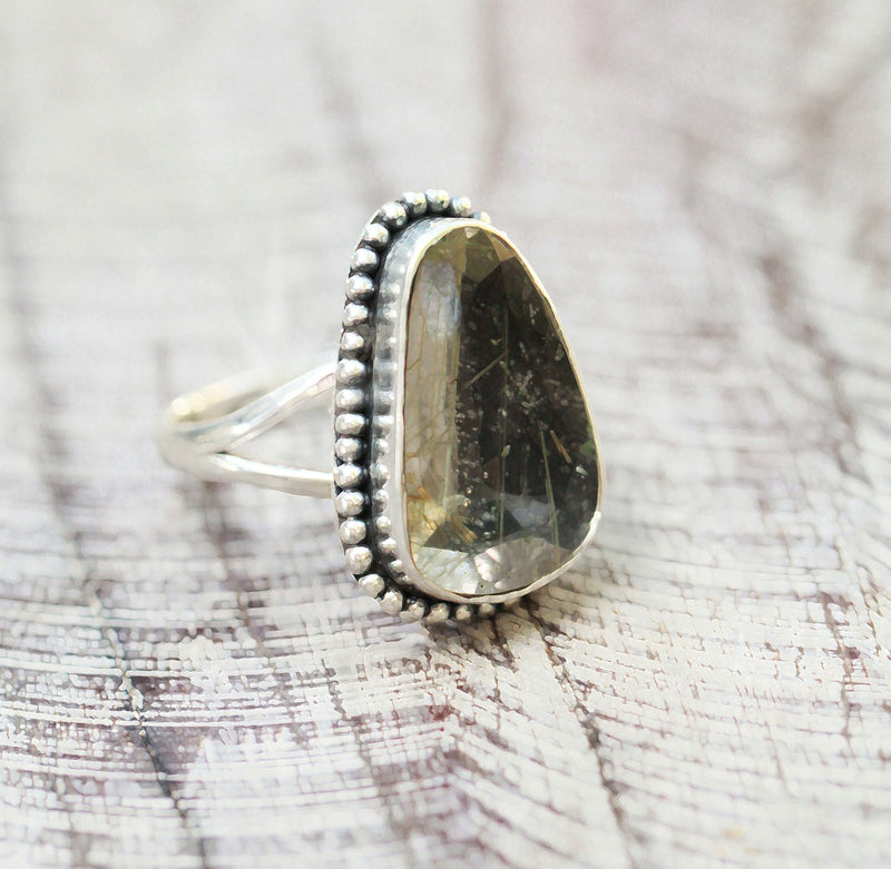 Large Citrine Rutile Quartz Crystal Boho Ring in 925 Sterling Antiqued Silver