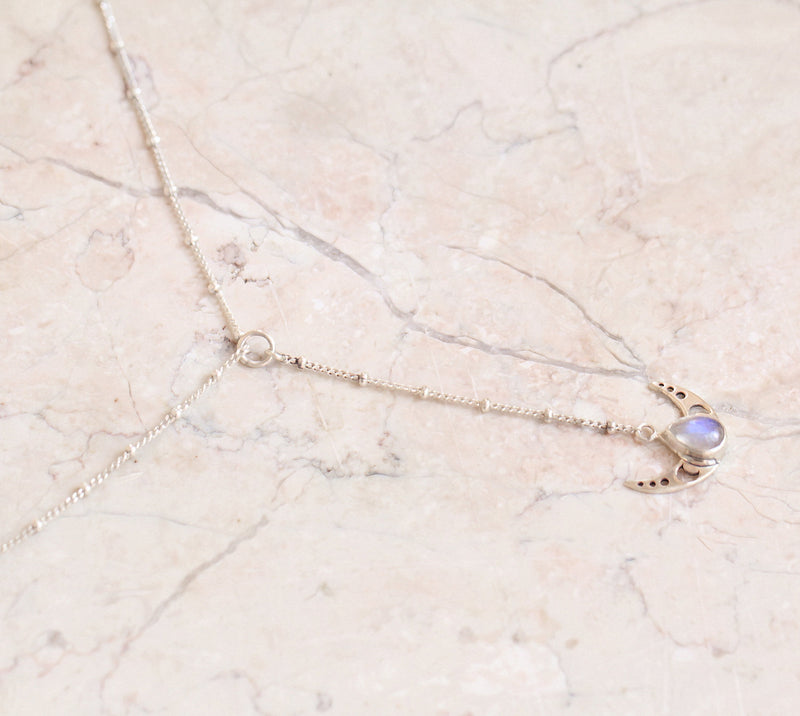 Small Teardrop Moonstone Necklace Moon Pendant Phases Crescent Moon Y Chain Necklace