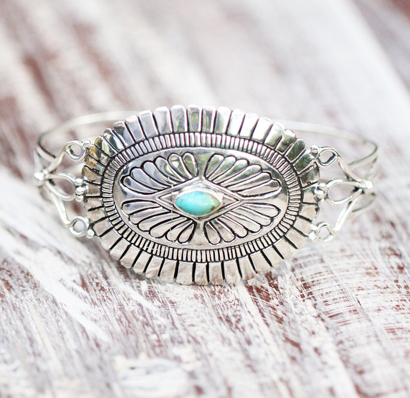Western Boho Gypsy Turquoise Cuff in 925 Sterling silver Adjustable Mandala festival Jewelry Large Statement Diamond Gemstone