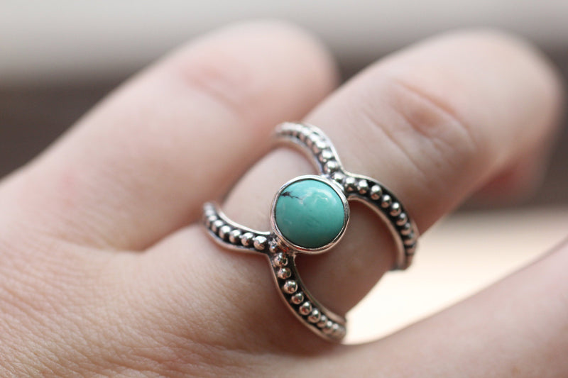 Genuine Arizona Turquoise Double Band Boho Ring in 925 Sterling Silver Handmade Unique Double Band Sky Blue Round Statement Jewellery