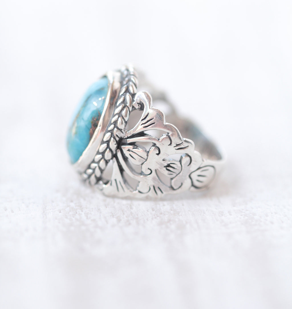 Kingsman Turquoise, Native American Style, Boho Rings, 925 Sterling Silver, Filigree Flower Mandala Style Ring Ethical Ethnic Nickel Free