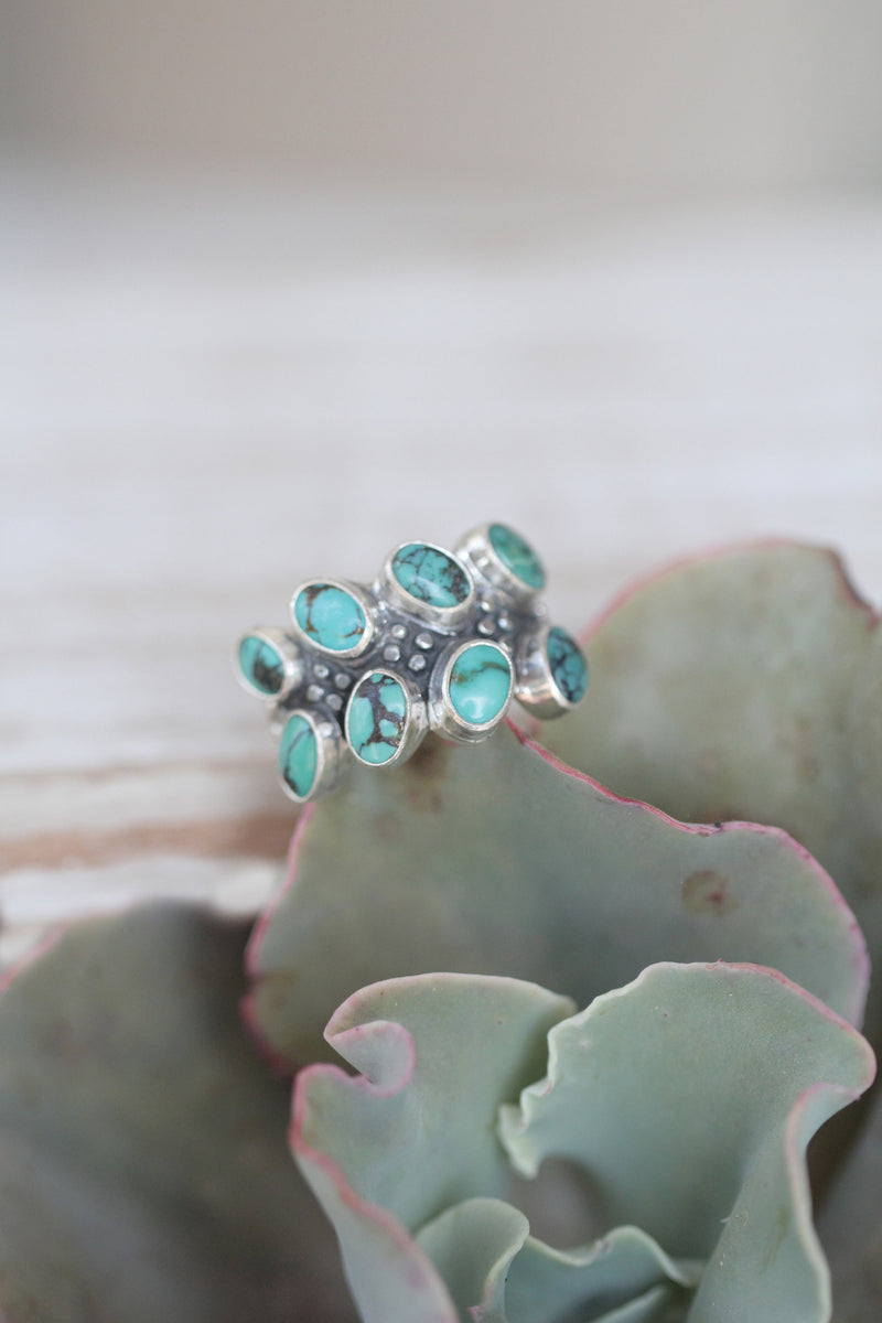 Multi Turquoise Ring, Stylish Boho Rings, Trending 925 Sterling Silver, Jewelry for Women, Cluster Rings, Double banded Arizona Turquoise