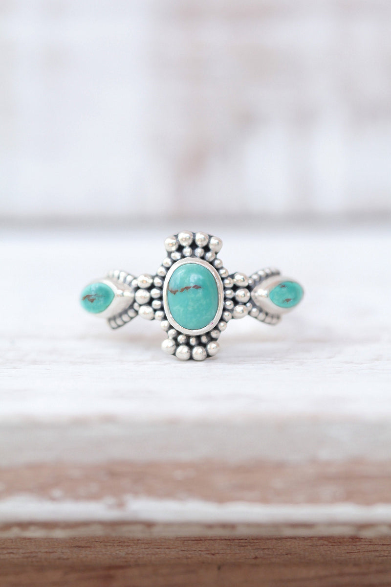 Tiny Turquoise Boho Ring, 925 Sterling Silver Cluster Ring, Vintage Antique Style, Estate Jewelry, Trendy Stack Ring, Stacking Ring Marquise