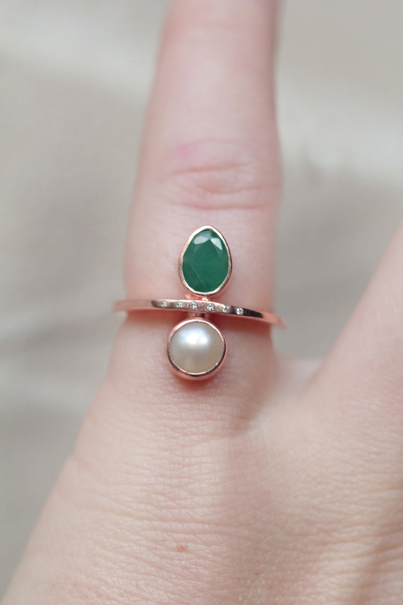 Rose Gold Wedding Ring, Diamond Engagement Band, Pear Emerald, Salt Water Pearl, Vintage Style Engagement, Boho Wedding Jewelry