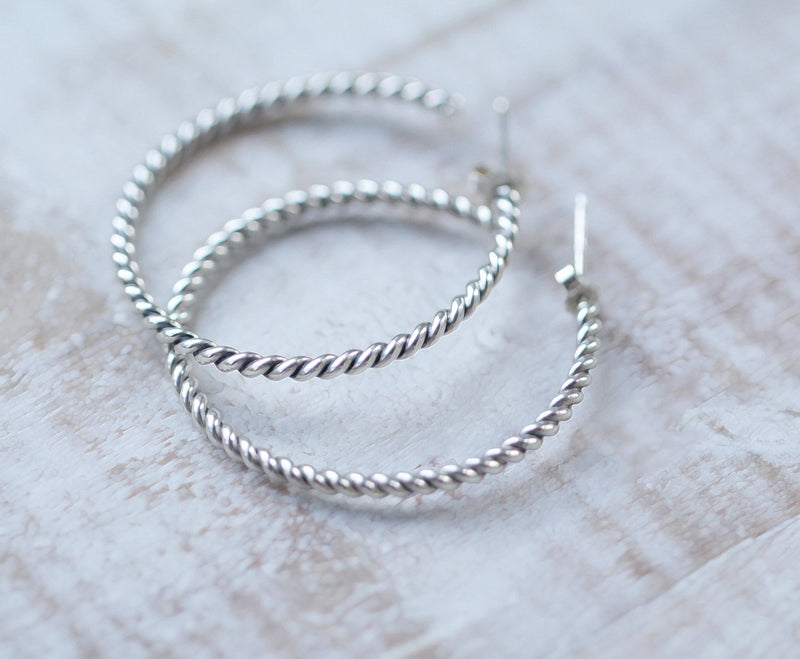 Silver Hoops, 925 Sterling Silver, Simple Light weight, Nickel Free, High Quality, Handmade Ethically in House Jewelry