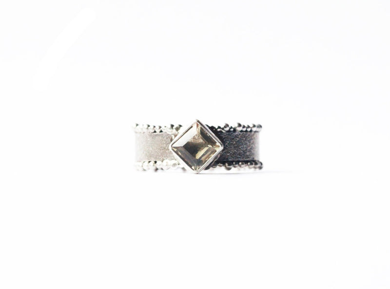 Classic Ring, Citrine, Square Gemstone, Rough Finish, Darkened Silver, 925 Sterling, Patterned Band, Handmade, Unique, Granulated, Abstract