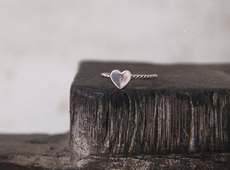 Small Dainty Heart Ring, Custom Initials Handmade in Solid 925 Sterling Silver