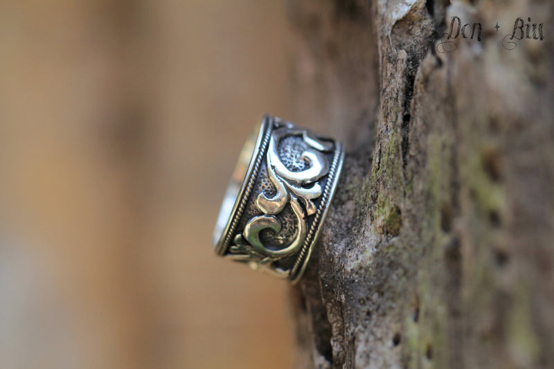 Mens Moonstone Solid Sterling Silver Carved Ring, Solid Sterling Hand carved Patterned Band Ring