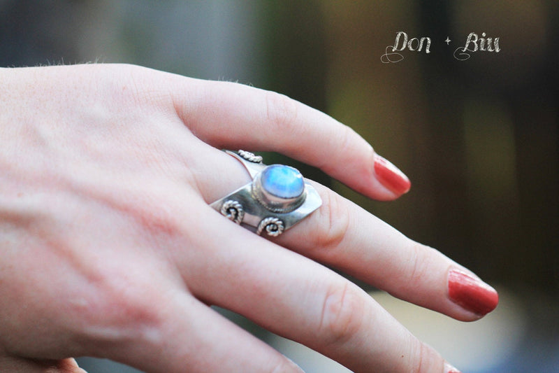Moonstone Ring, Chevron Ring, Boho Ring, Statement Ring, Chunky Ring, Personalised Ring, Stamped Ring, Sterling Ring, Gypsy Ring, Moonstone