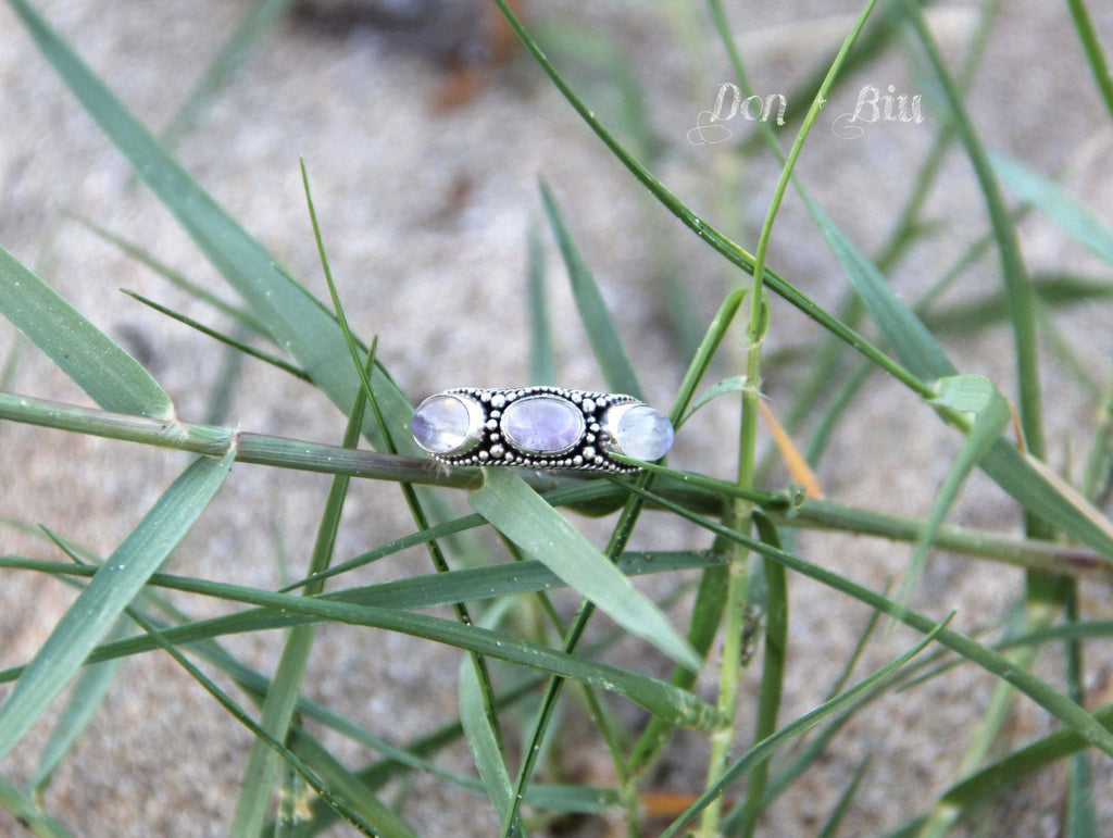 Silver Moonstone Ring, Boho, Patterned Band, Sterling Detailing, Triple Gemstone, Oval, Natural, Nickel Free, Engraving, Unique, Handmade