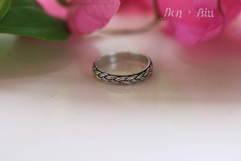 Midi Braided Silver Ring, Stack hand Braided Ring, Sterling Stacking Tiny Simple Solid Sterling Ring for Women, Bohemian, Gypsy Ring