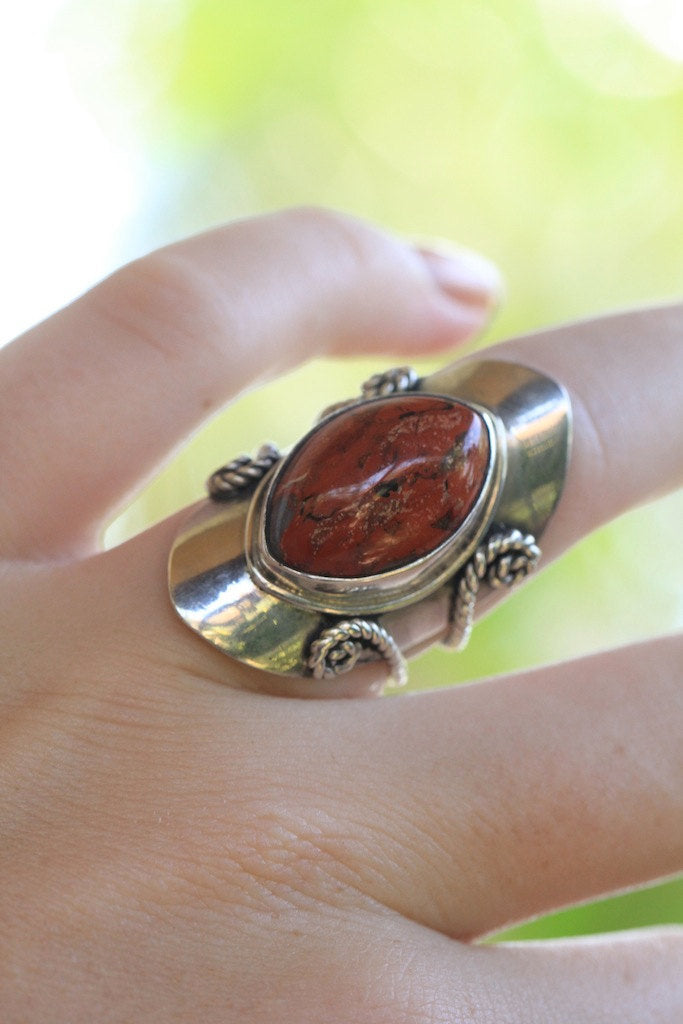 Marquise Red Jasper Silver Silver Ring, Boho Rings Sterling Silver, Bohemian Jewelry, Silver Rings, Silver Rings with Stones, Gemstone Ring
