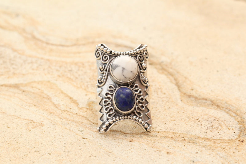 Lapis Lazuli, Blue Gemstone Silver Rings, Gypsy Jewelry, Boho Rings, Solid Sterling Silver, Statement Ring, Handcrafted Jewelry, OOAK, Trend