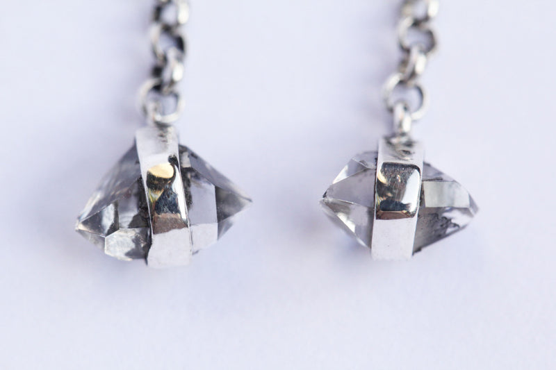 Dangle Earrings, Herkimer Diamond Earrings, Double Terminated Quartz, 925 Sterling Silver Earrings, Boho Style, Gypsy, Earrings by Don Biu