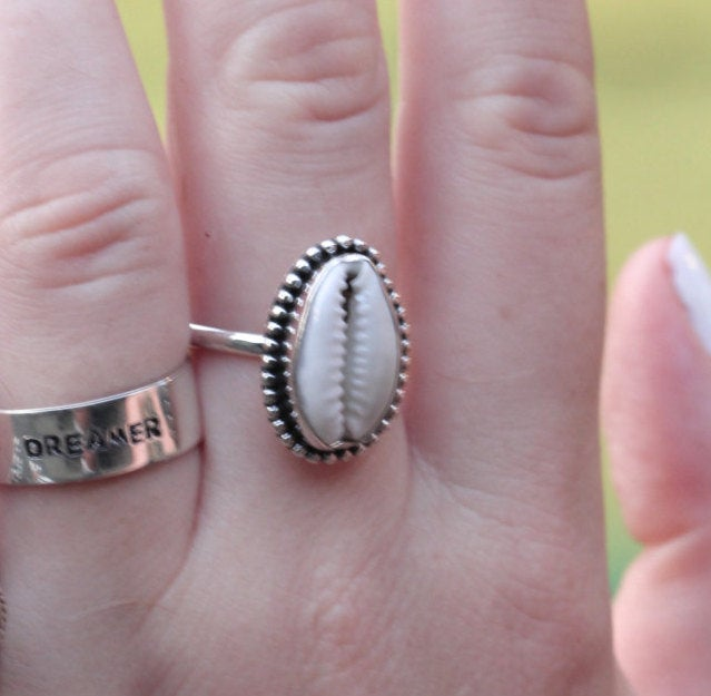 Cowrie Shell Ring, Boho, Shell Jewelry, 925 Silver, Stamped Sterling, Handmade Ring, Oval Gemstone, Simple, Bohemian Jewellery, Fashion