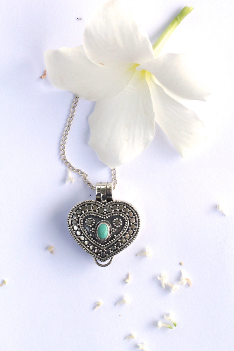 Turquoise Heart, Locket Necklace, Heart Locket, Sterling Silver Locket, Compartment Necklace, Boho, Photo Locket Necklace, Silver Locket