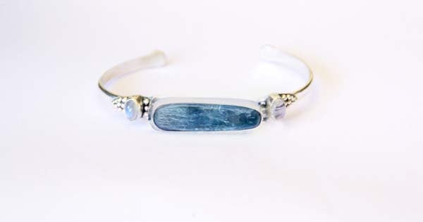 Kyanite Jewelry, Boho Cuff, Moonstone Bracelet, Uniquely Handmade, Granulated, Adjustable, 925 Silver, Sterling, Simple, Oval Gemstone, Blue